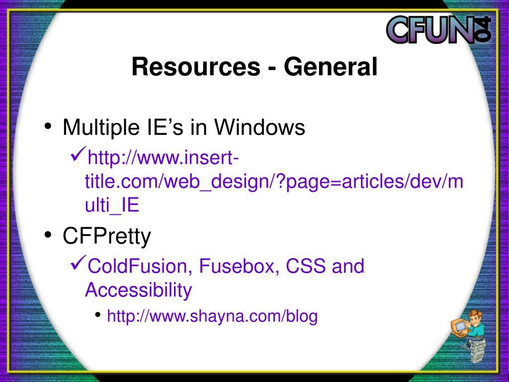 Resources - General