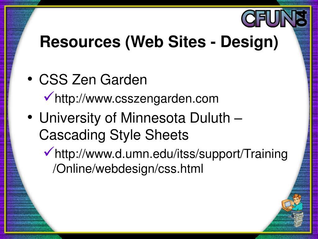Resources (Web Sites - Design)