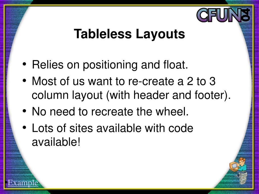 Tableless Layouts