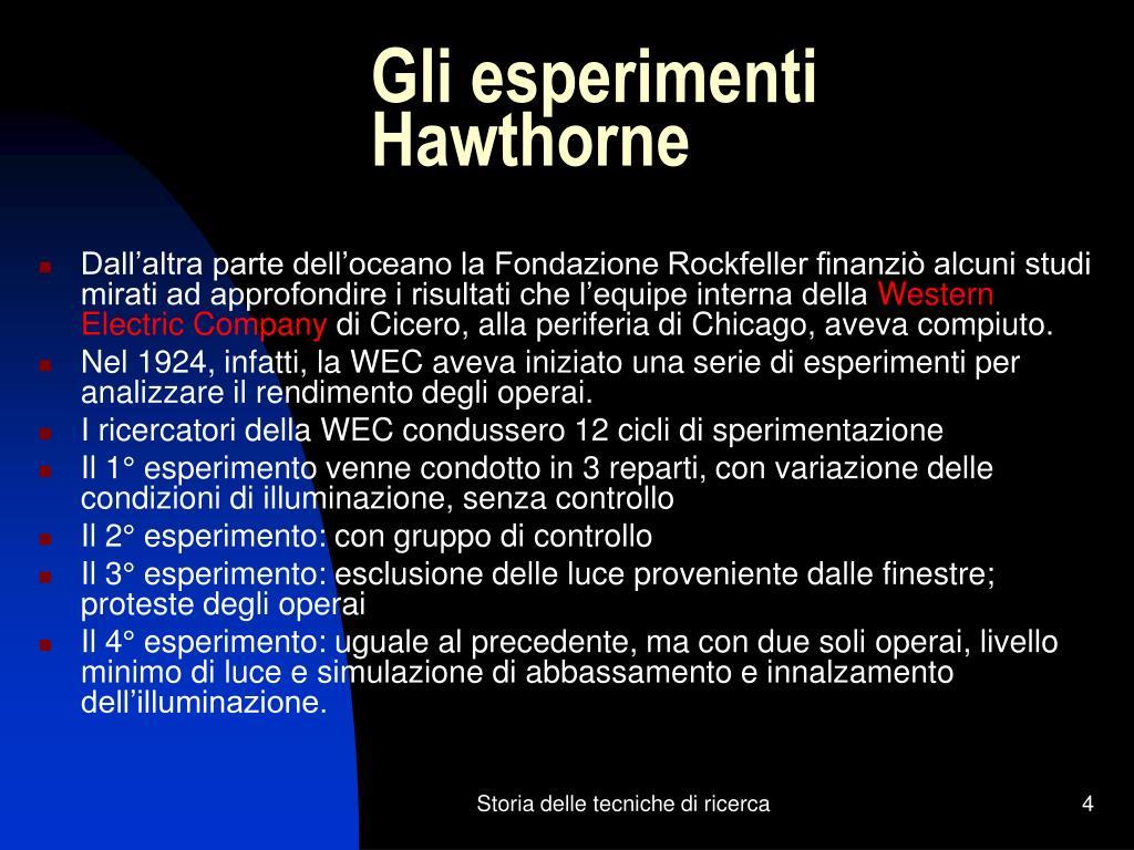 Gli esperimenti Hawthorne