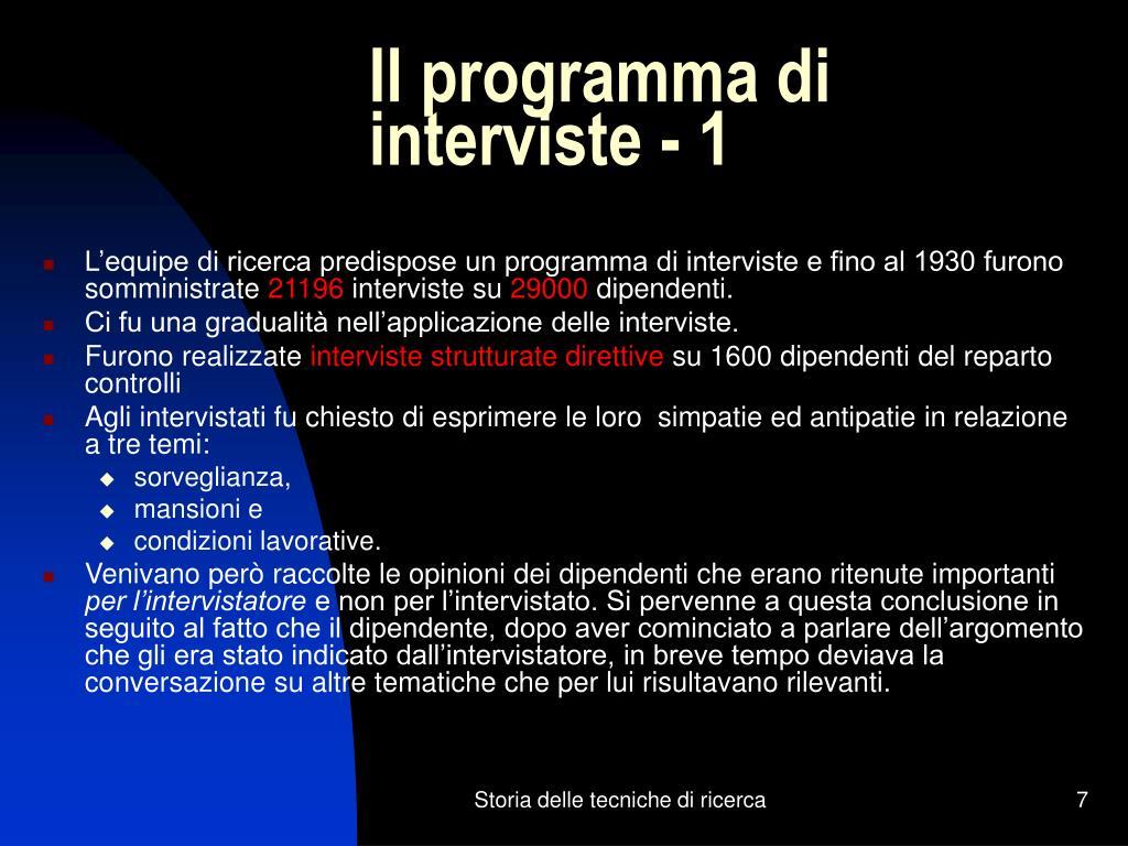 Il programma di interviste - 1