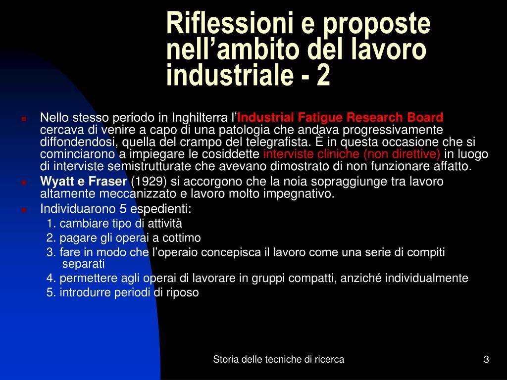 Riflessioni e proposte nell'ambito del lavoro industriale - 2