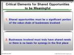 critical elements for shared opportunities to be meaningful