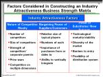 factors considered in constructing an industry attractiveness business strength matrix