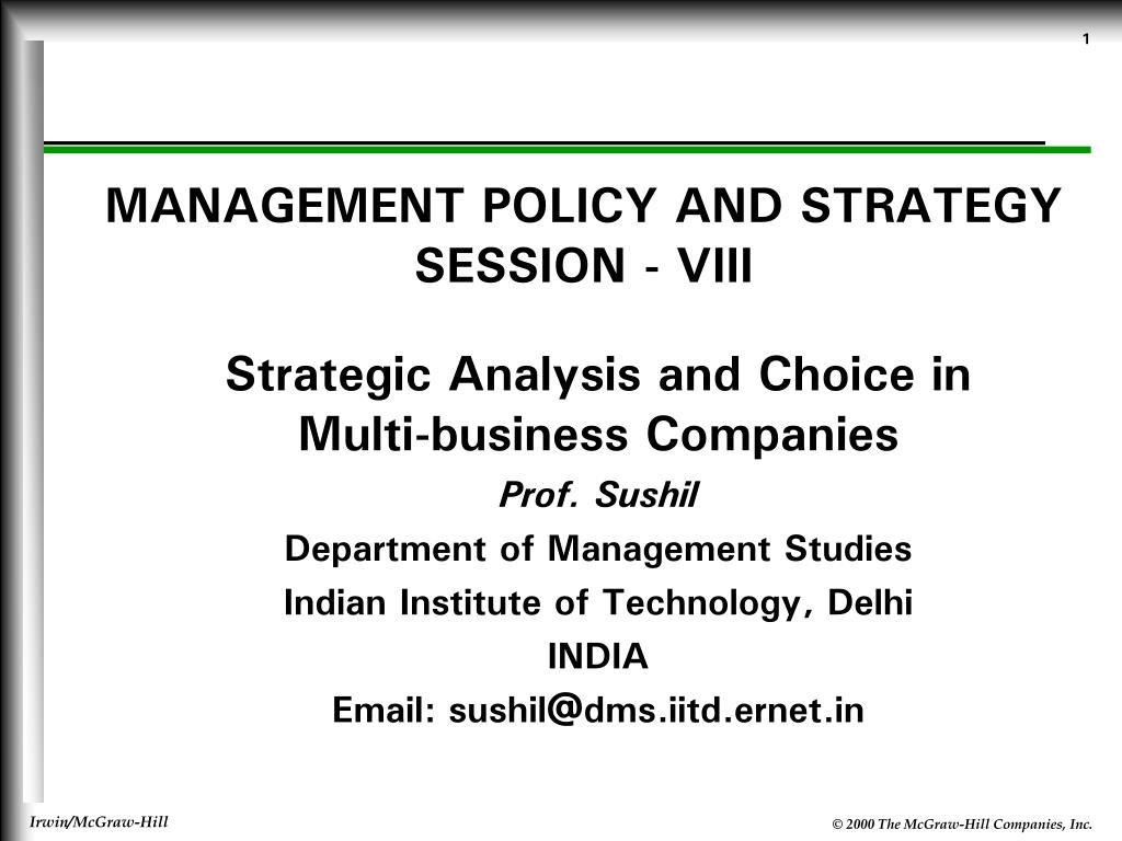 management policy and strategy session viii