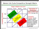 market life cycle competitive strength matrix