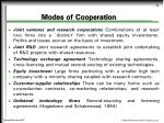 modes of cooperation