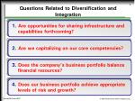 questions related to diversification and integration