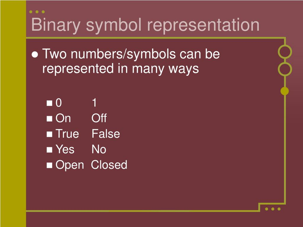 Binary symbol representation