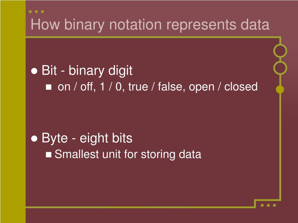 How binary notation represents data