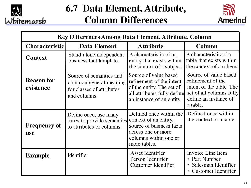Key Differences Among Data Element, Attribute, Column
