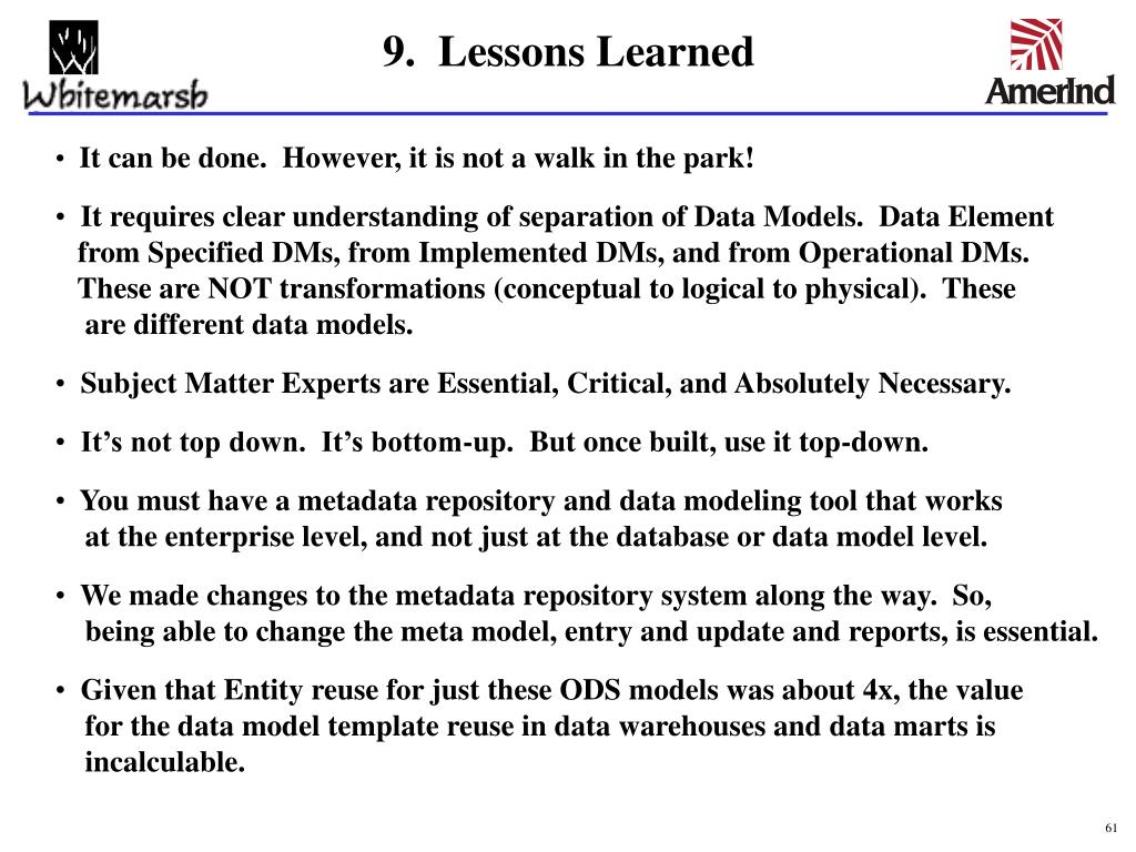 9.  Lessons Learned
