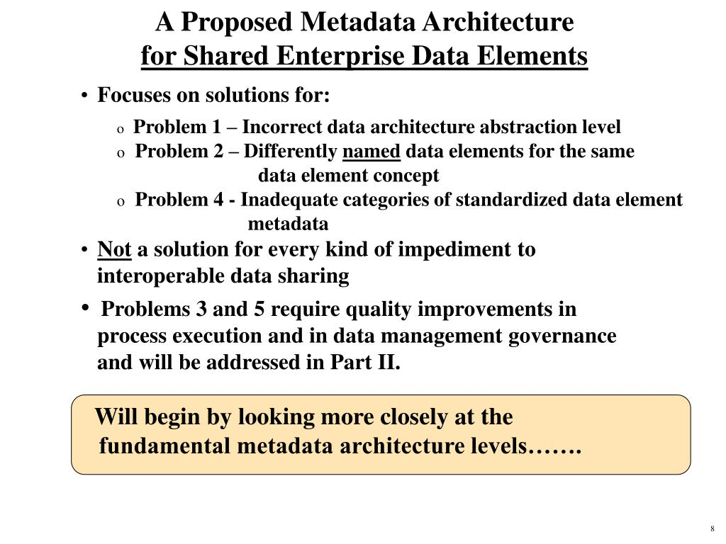 A Proposed Metadata Architecture