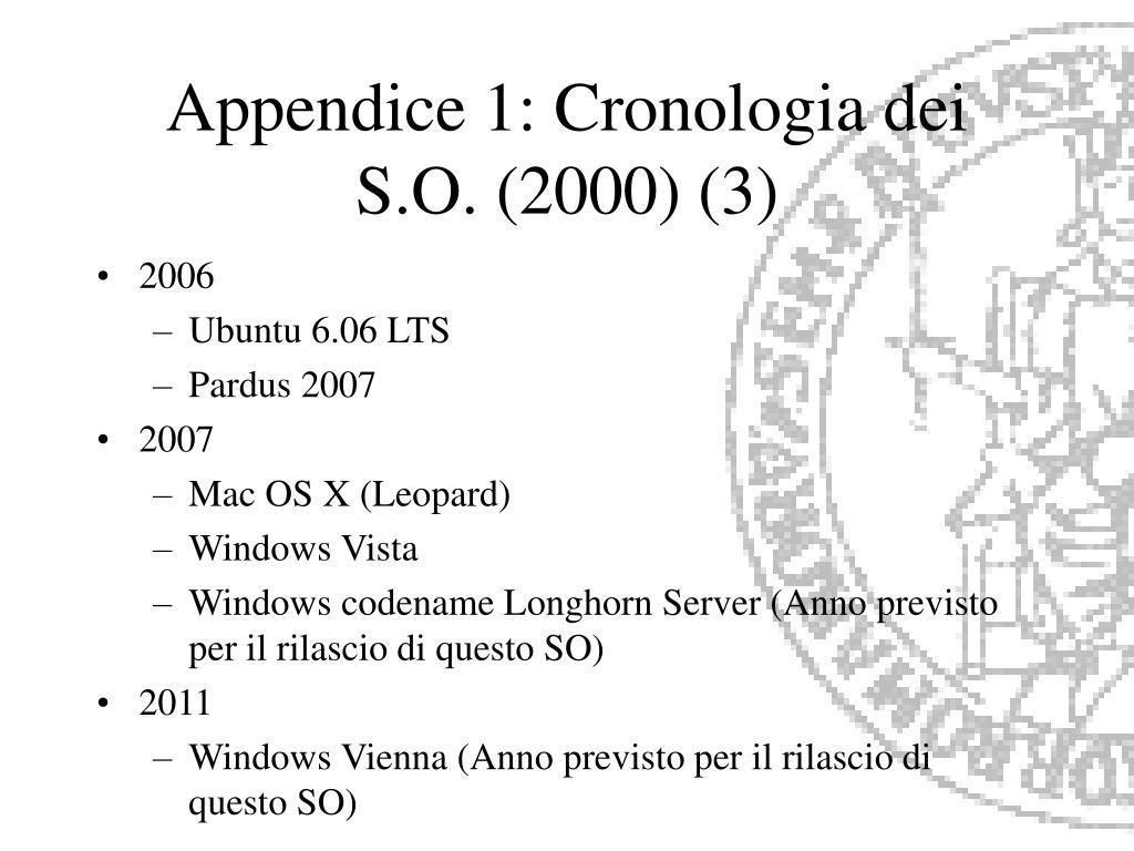Appendice 1: Cronologia dei S.O. (2000) (3)