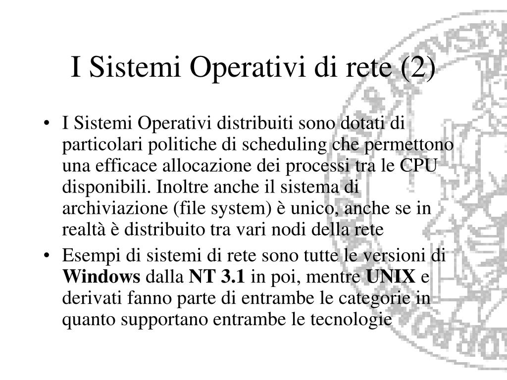I Sistemi Operativi di rete (2)