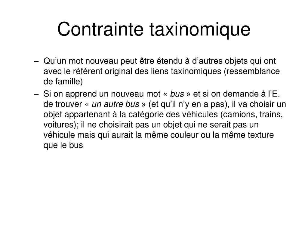 Contrainte taxinomique