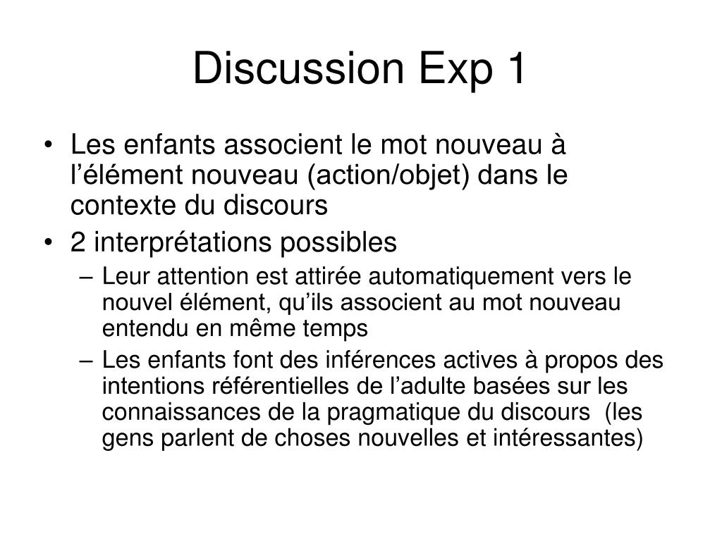 Discussion Exp 1