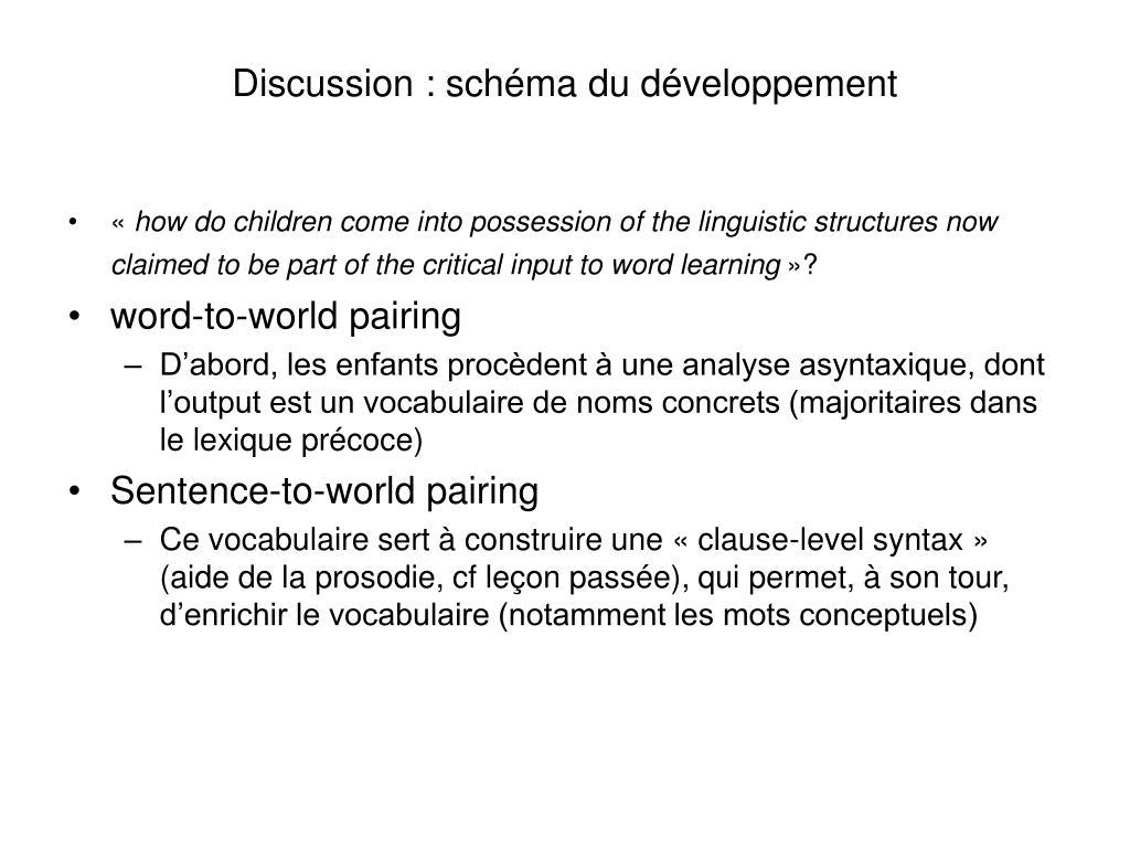 Discussion : schéma du développement