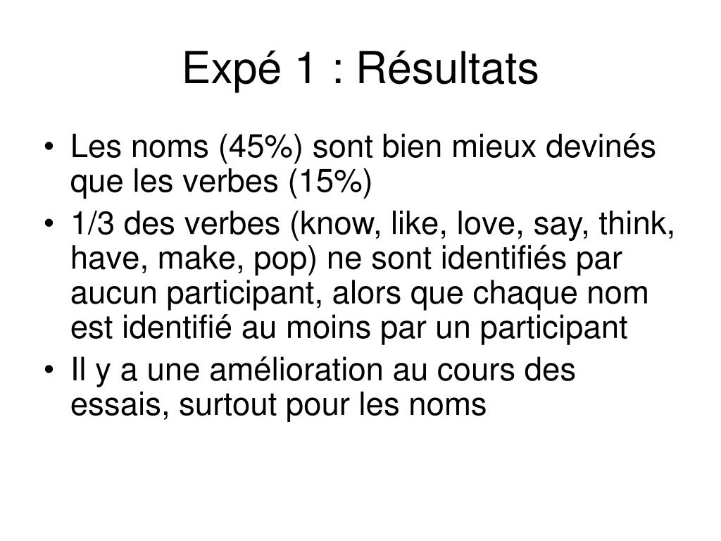Expé 1 : Résultats