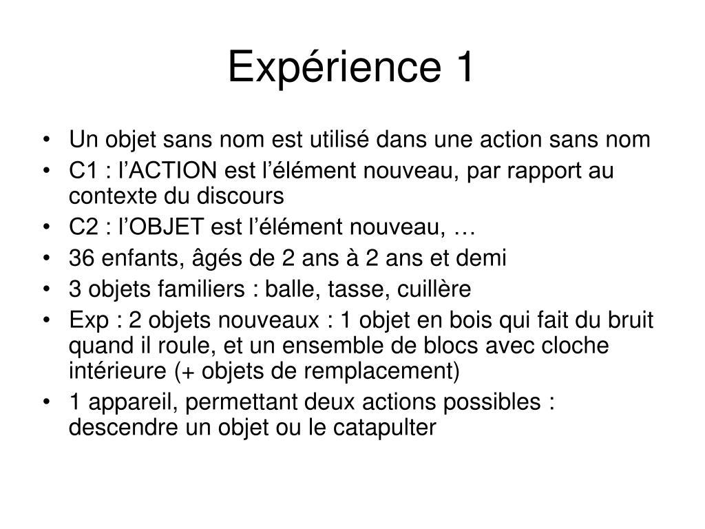 Expérience 1