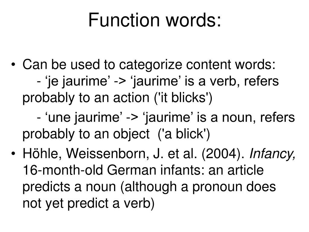 Function words: