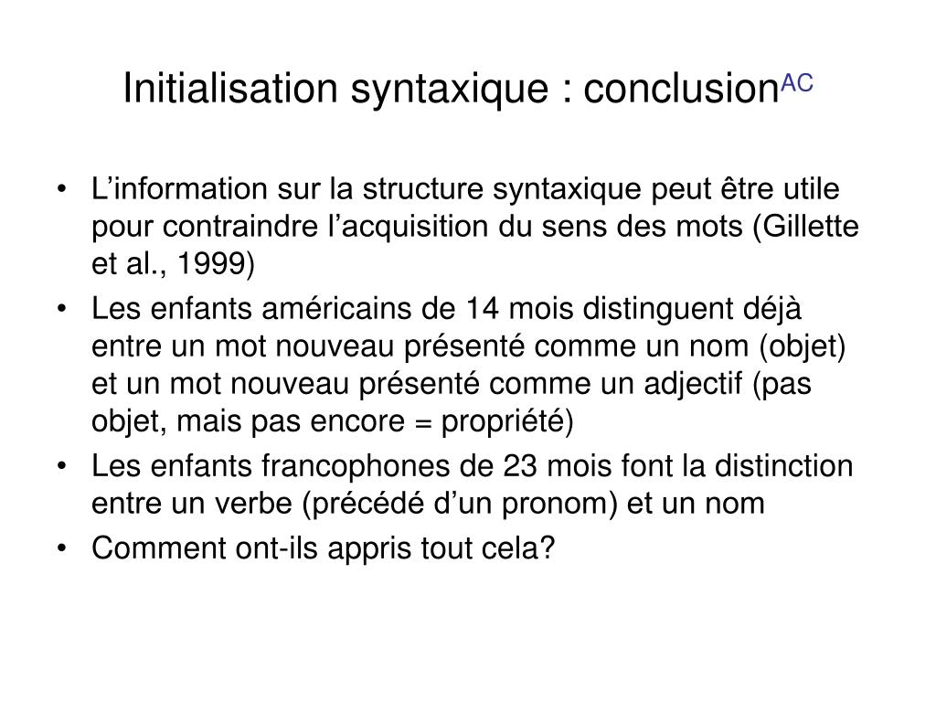 Initialisation syntaxique : conclusion
