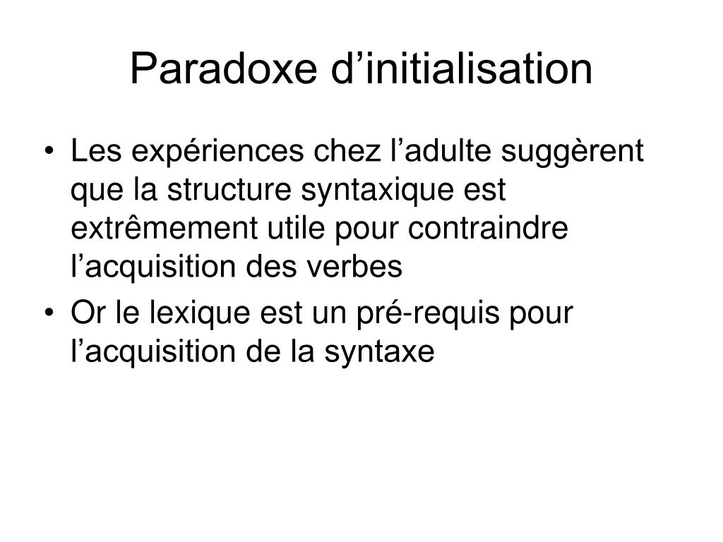 Paradoxe d'initialisation