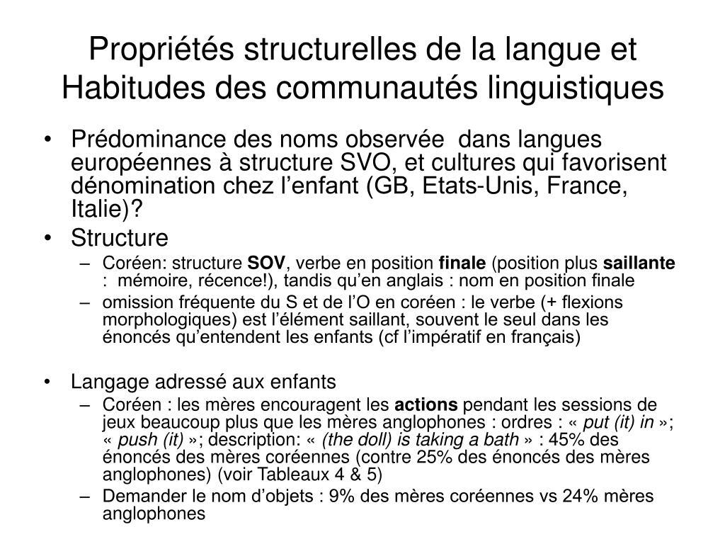 Propriétés structurelles de la langue et