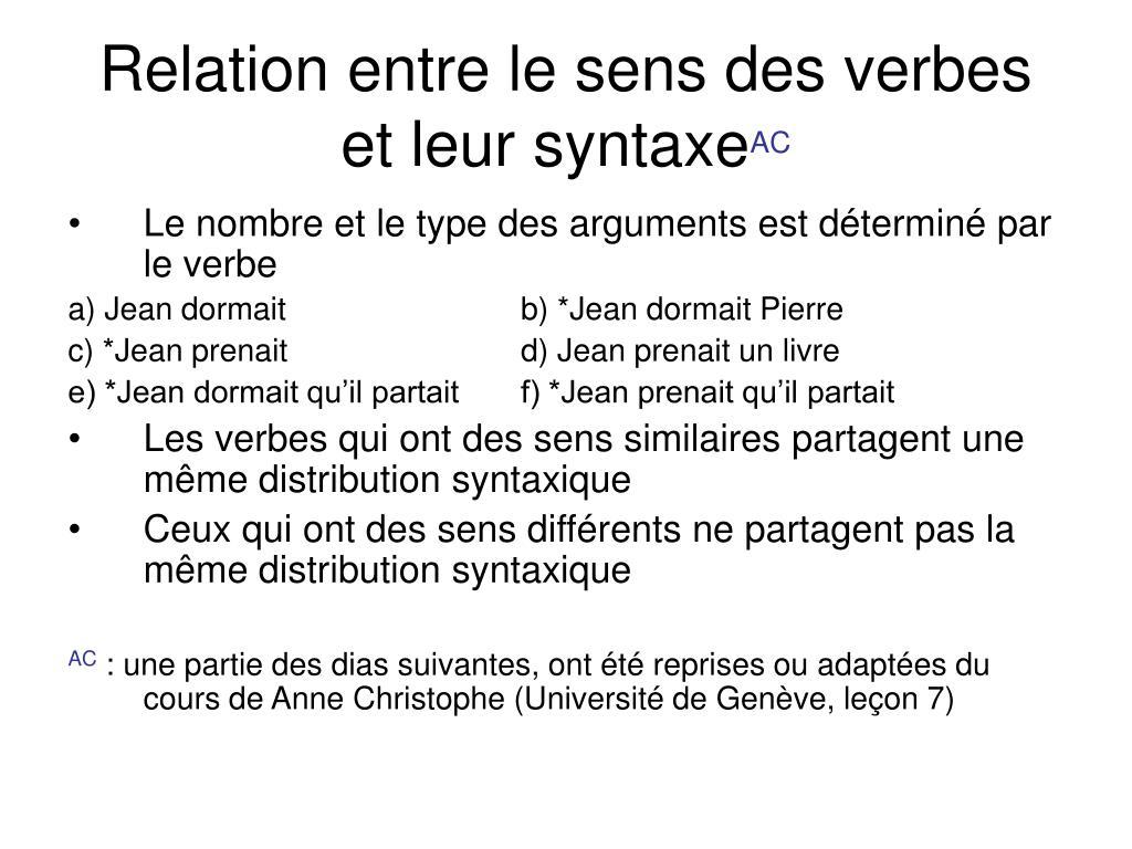Relation entre le sens des verbes et leur syntaxe
