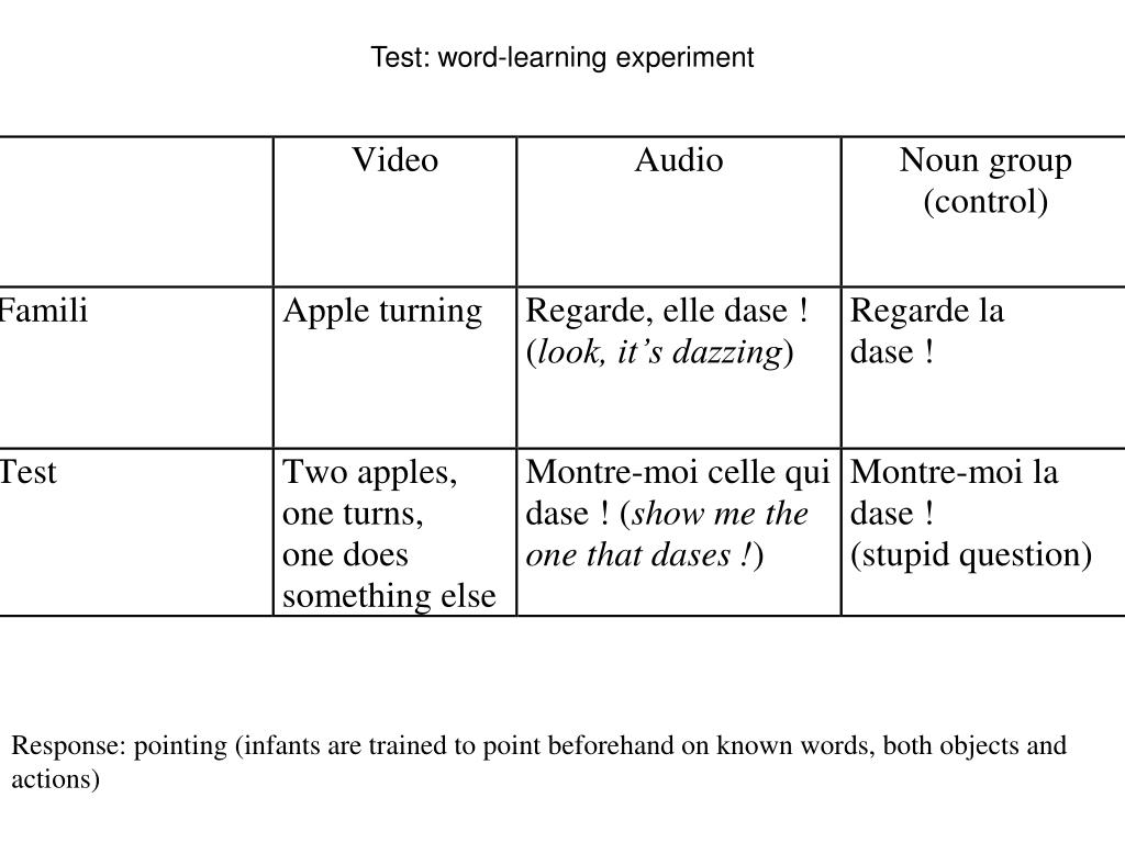 Test: word-learning experiment