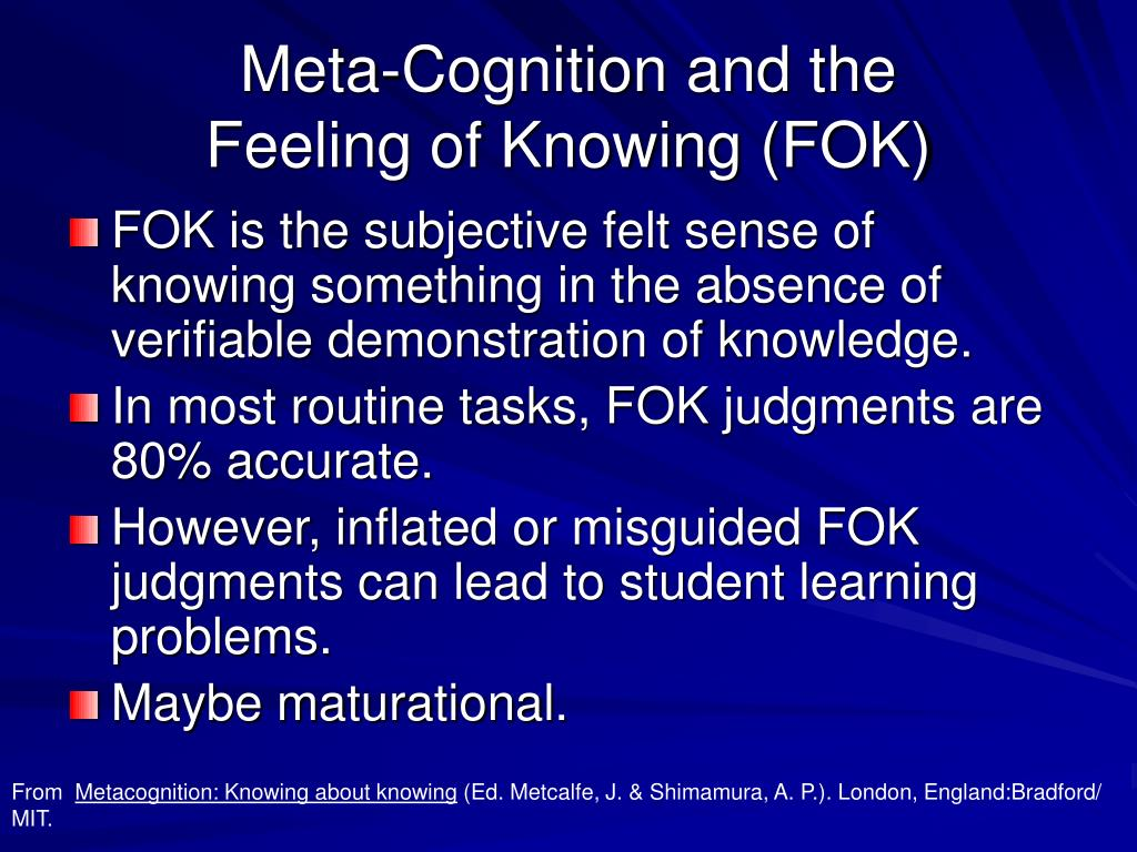 Meta-Cognition and the