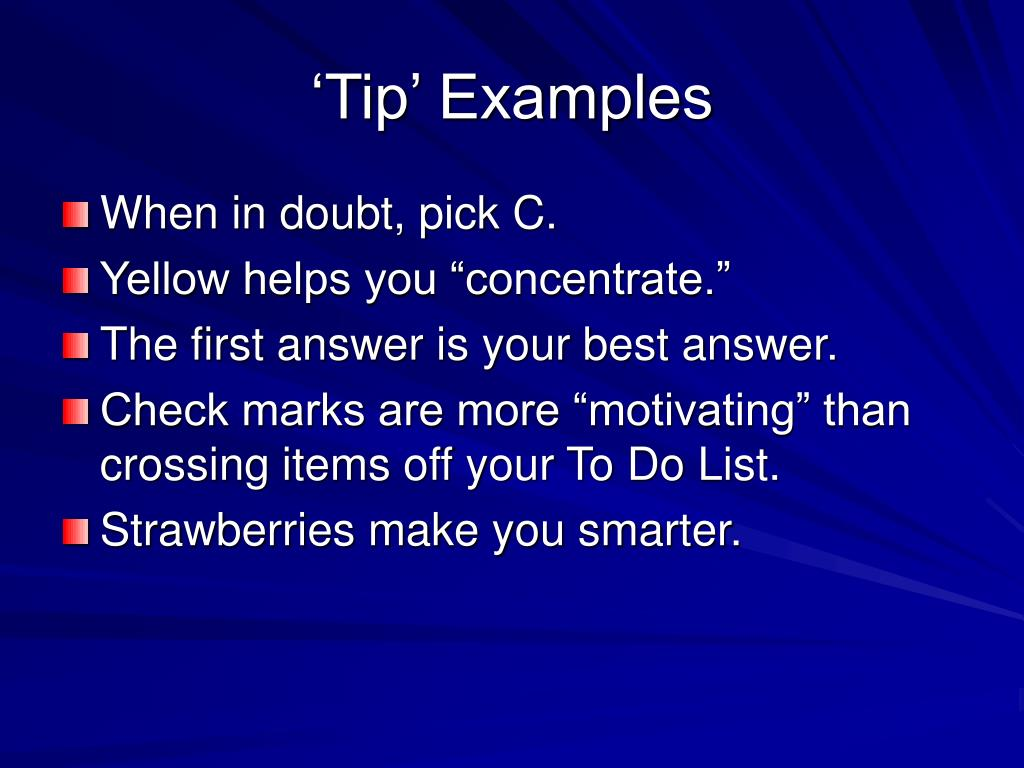 'Tip' Examples