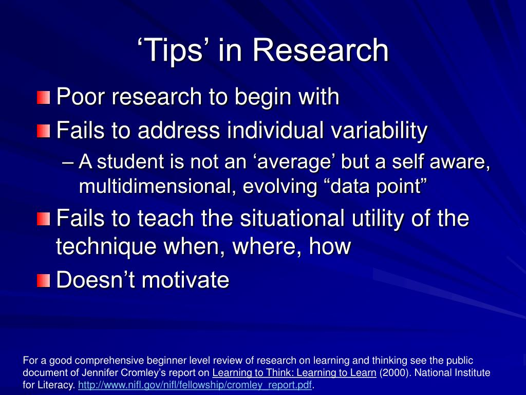 'Tips' in Research
