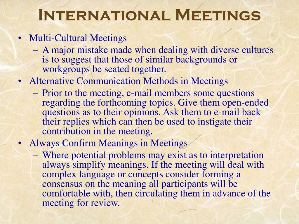 International Meetings