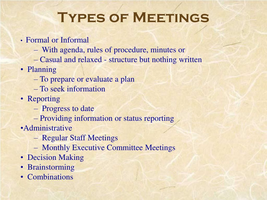 Types of Meetings