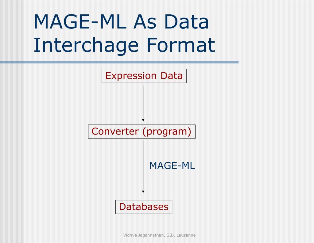 MAGE-ML As Data Interchage Format