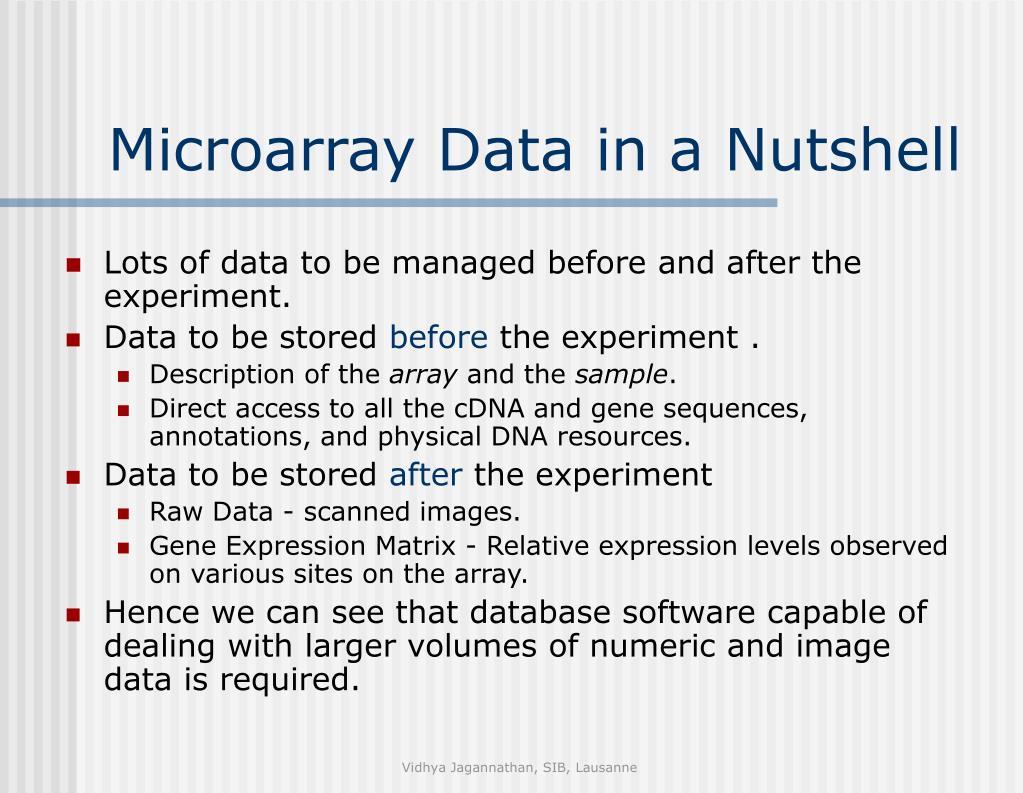 Microarray Data in a Nutshell