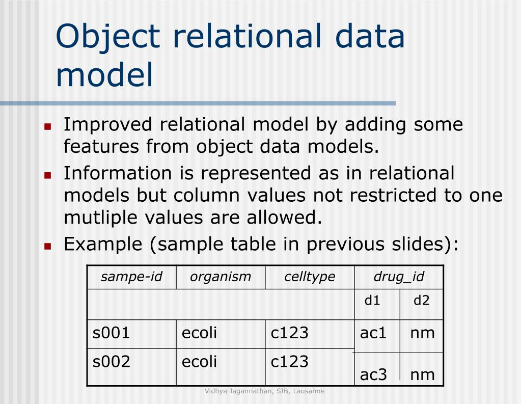 Improved relational model by adding some features from object data models.
