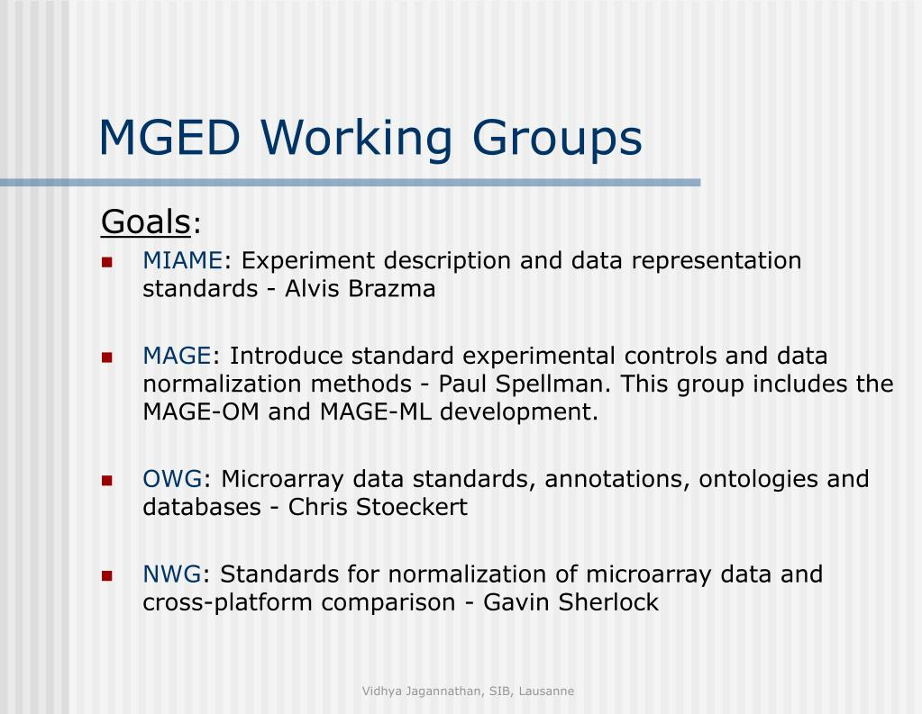 MGED Working Groups