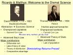 ricardo malthus welcome to the dismal science