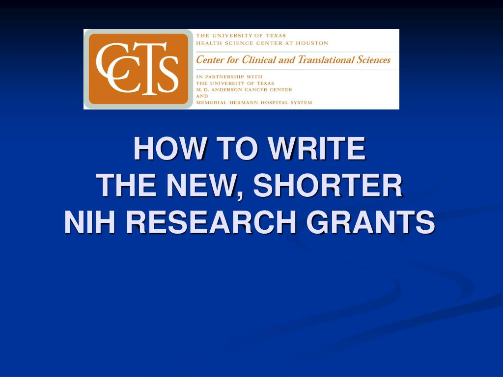 how to write the new shorter nih research grants