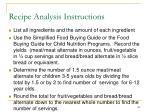 recipe analysis instructions