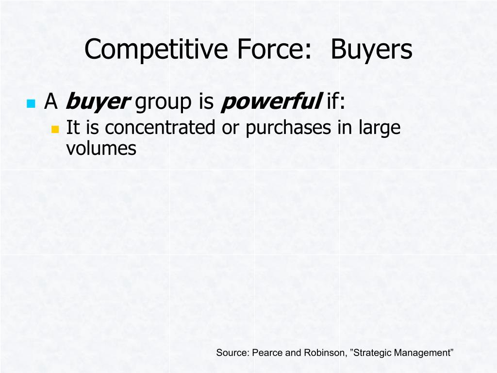 Competitive Force:  Buyers