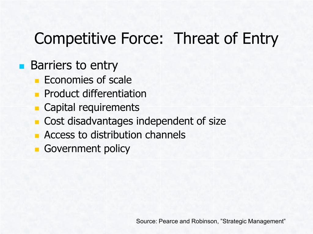 Competitive Force:  Threat of Entry