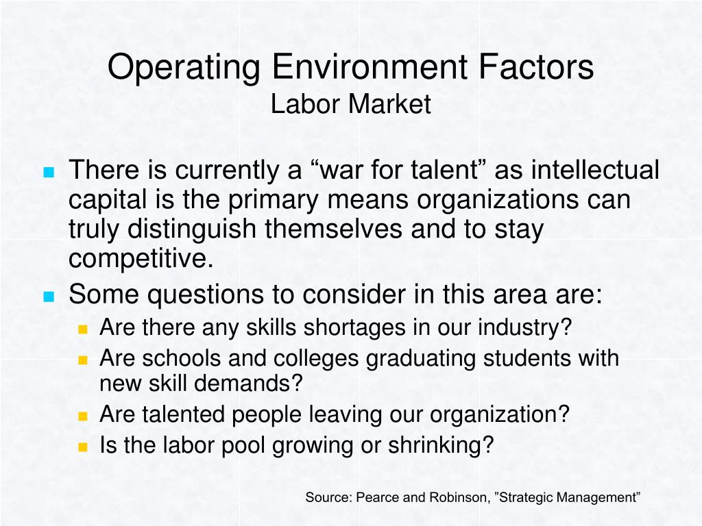 Operating Environment Factors