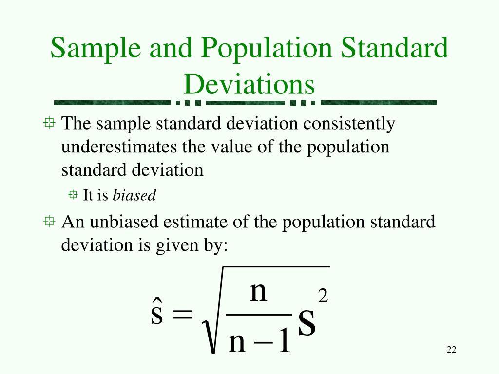 Sample and Population Standard Deviations