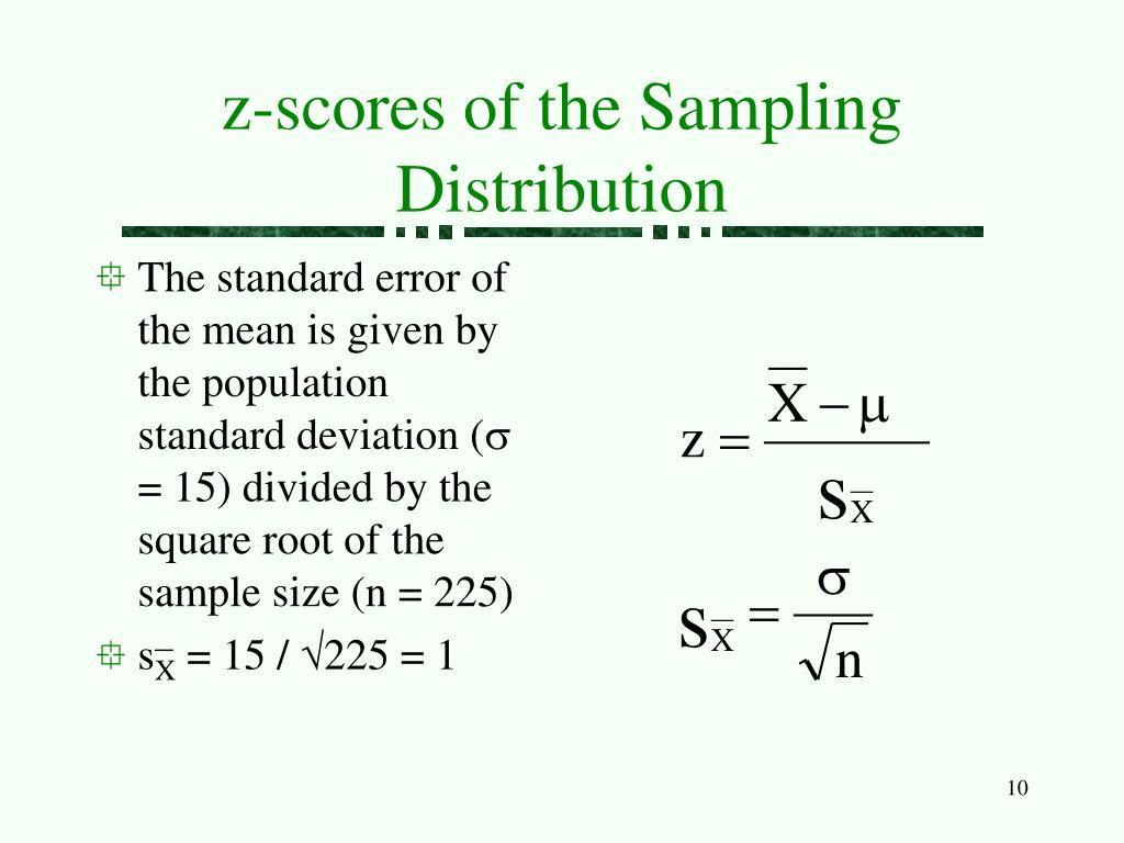 z-scores of the Sampling Distribution