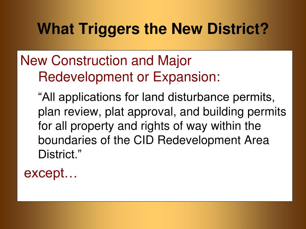 New Construction and Major Redevelopment or Expansion: