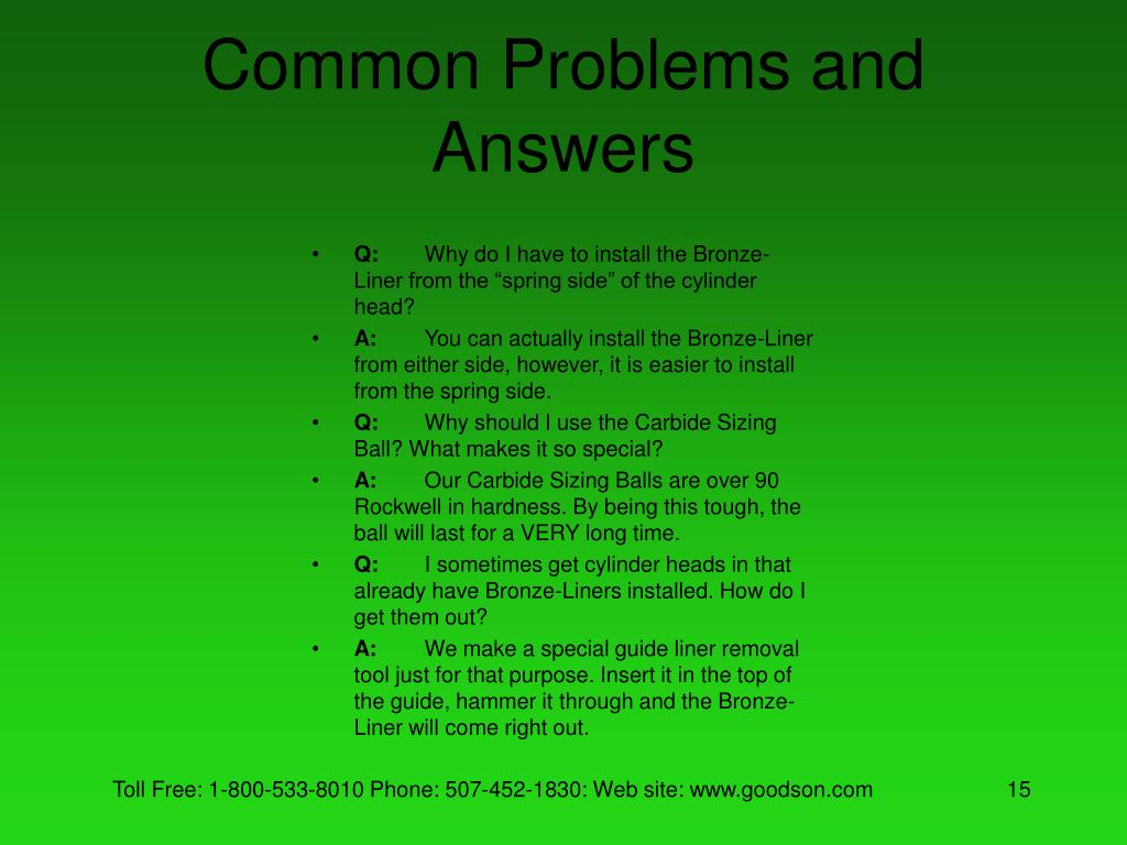 Common Problems and Answers