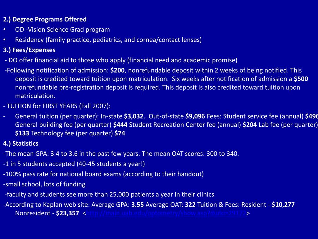 2.) Degree Programs Offered